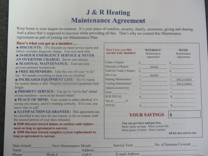 Maintenance Agreement/J & R Heating
