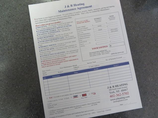 Maintenance Agreement/J & R Heating